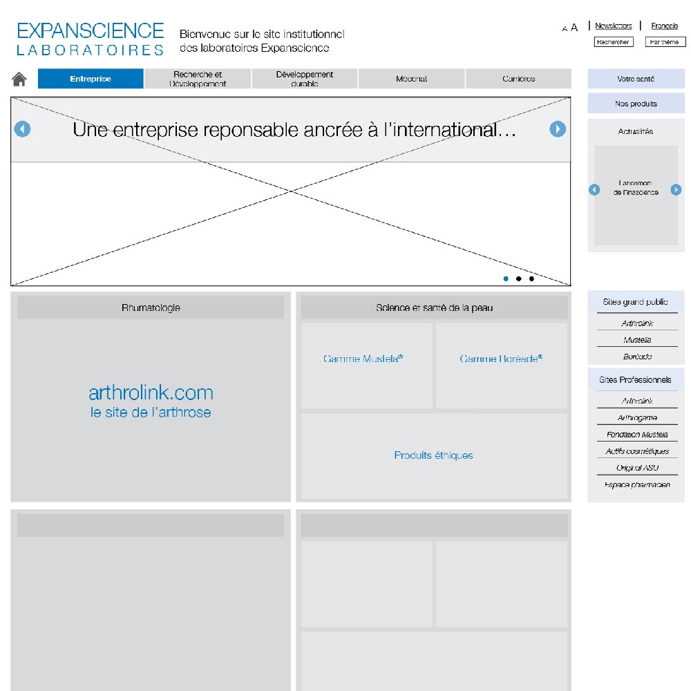 Wireframe d'un site web pour le laboratoire expanscience