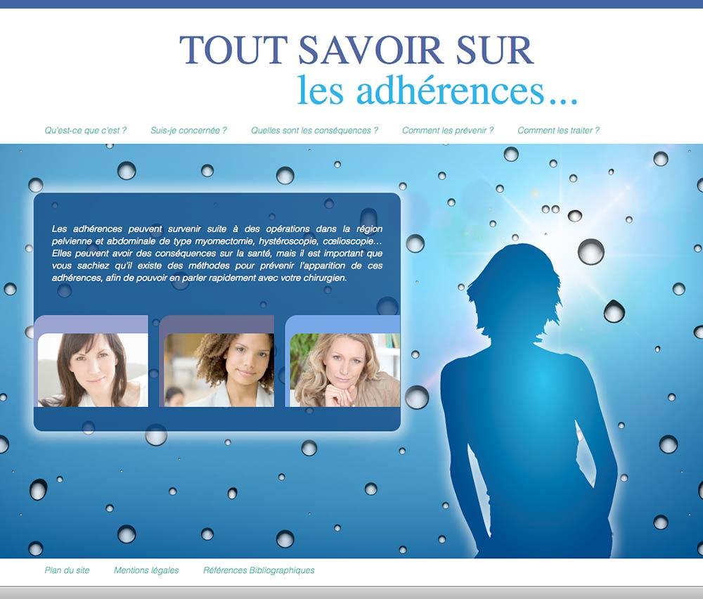 Homepage du site sur les adhérences féminines