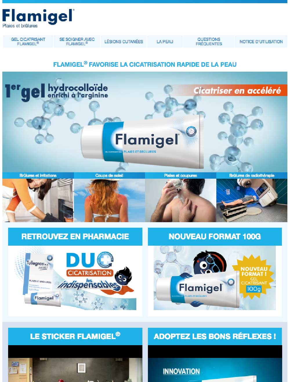 homepage du site Flamigel pour Mylan