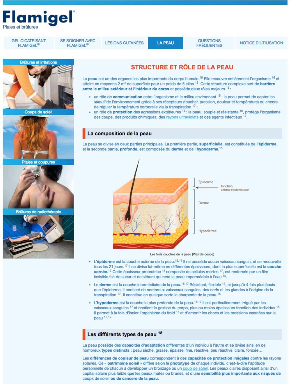 Page de contenu du site Flamigel pour Mylan
