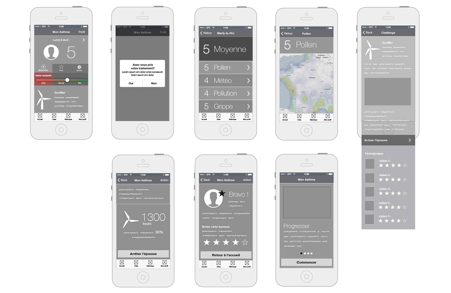 Wireframe de l'application mobile mon asthme