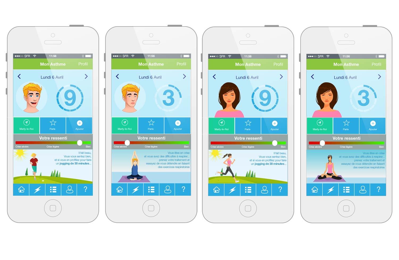 Maquette des écrans de l'application mobile mon asthme