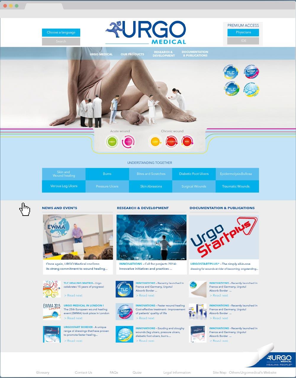 Maquette du site Urgo