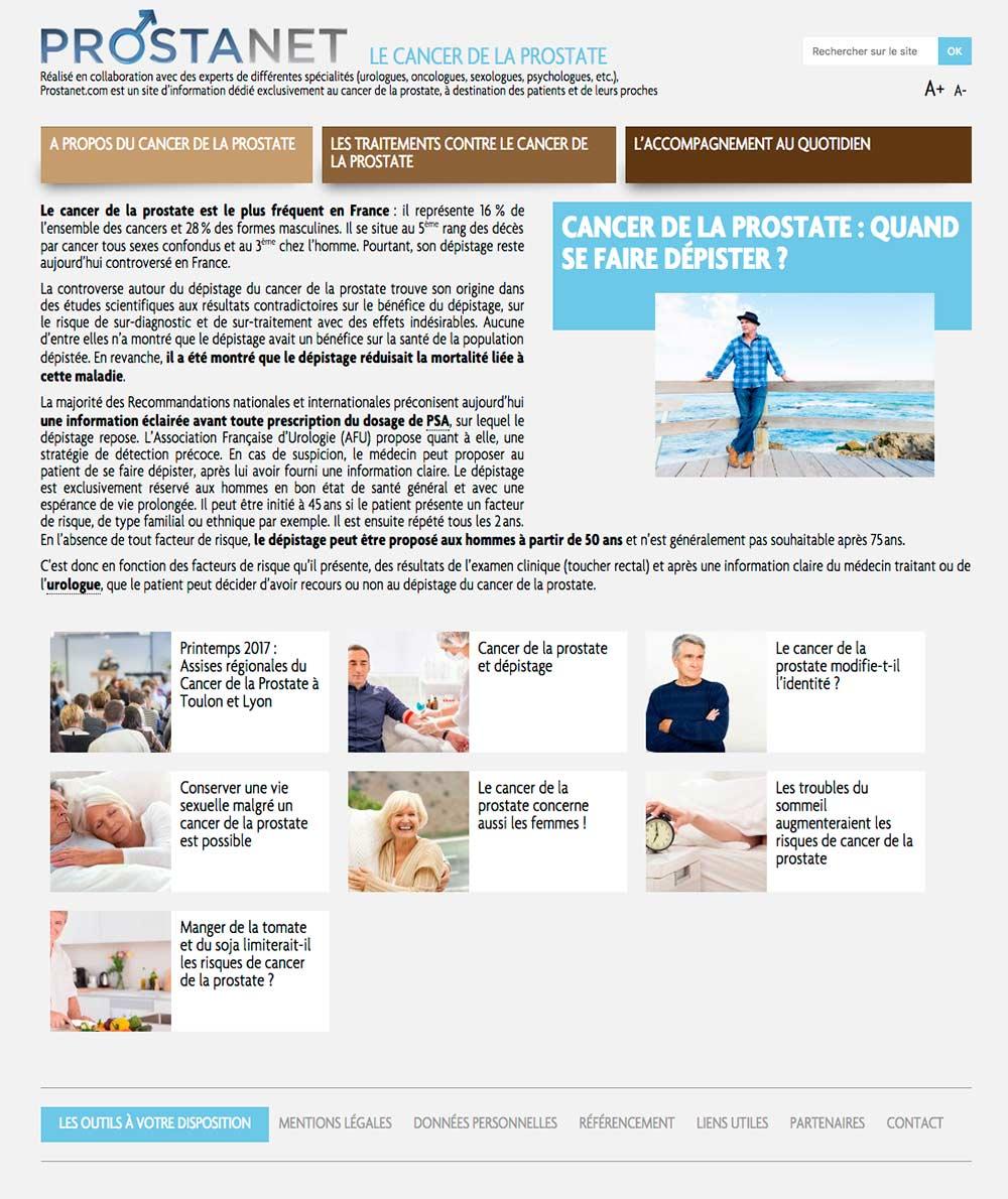 Template 3 d'un site sur le cancer de la prostate pour takeda